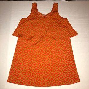 Everly Orange Gold Elephant Short Tank Dress